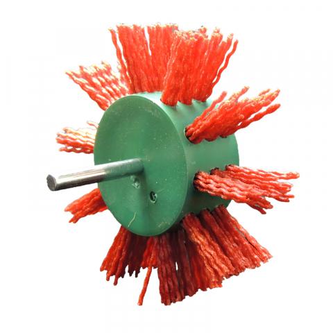 Щетка дисковая Д100*23 с хв-м д6, ворс красный полимер-абразив P80
